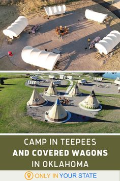 If you're looking for some summer fun with the family, discover a unique covered wagon and teepee campground in Oklahoma. You'll love the amenities and surrounding farm activities - kids and adults alike will have a blast. | Vacation | Weekend Getaway | Fun With Kids | Travel Texas Travel, Us Travel, Places To Travel, Places To Visit, Travel Oklahoma, Vacation Destinations, Vacation Trips, Vacation Spots, Vacations
