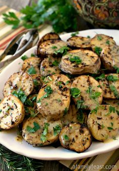 Grilled Yellow Potatoes with Mustard Sauce - Perfect for a summertime dinner, grilled potatoes are super delicious with a fantastic mustard sauce!