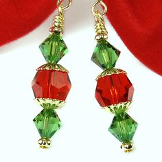 Christmas Crystal Earrings Red Green Swarovski Sparkly Dressy Handmade | PrettyGonzo - Jewelry on ArtFire