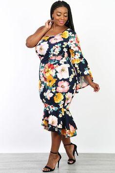 13960861af6 One Shoulder Midi Floral Plus Size Dress Floral Plus Size Dresses