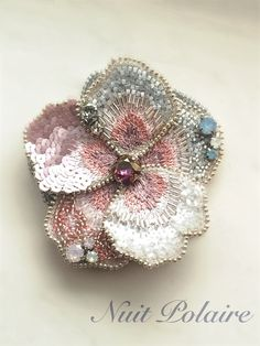 beaded and crochet mix together Tambour Beading, Tambour Embroidery, Couture Embroidery, Bead Embroidery Jewelry, Silk Ribbon Embroidery, Embroidery Patterns, Hand Embroidery, Beaded Flowers, Fabric Flowers