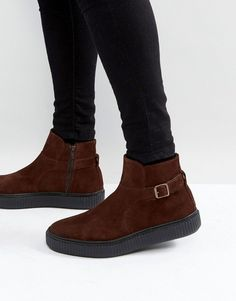 31a68714cd0 ASOS Chelsea Boots In Brown Suede With Black Creeper Sole - Brown Suede  Cleaner