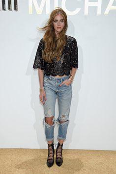 A blogueira Chiara Ferragni foi de jeans detonadão