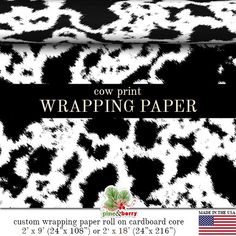 Cow Print Wrapping Paper | Custom Black And White or Brown and White Cow Print Gift Wrap Paper Roll 9 feet or 18 feet Great For Any Occasion.