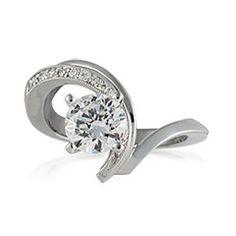 Vivadore 18K White Palladium Diamond Engagement Ring With 0.12 Carats Diamonds.