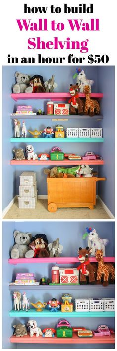 This is such an easy build! Any beginning DIYer could complete these! Great for kid's rooms and home offices! How to Build Wall to Wall Shelves in an hour for $50