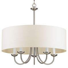 Progress Lighting Brushed Nickel Five Light Chandelier With Off White Linen Fabric Shade On SALE