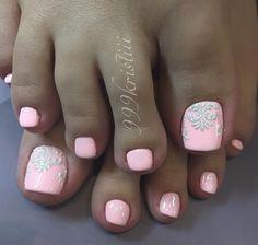 Pink Toe Nail Art Velvet sand technic