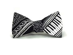 Piano bowtie Music bowtie black and white bowtie by TheWoolFish