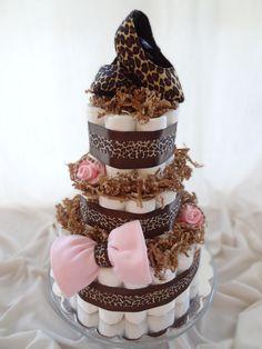 Gorgeous Cheetah Print Baby Girl Diaper Cake. $110.00, via Etsy.