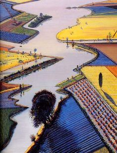 Wayne Thiebaud River and Farms 1996 oil on canvas 60 x 48 in. at the Whitney Museum of American Art