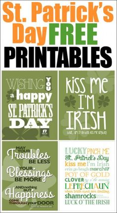 4 different St Patricks Day printables FREE for you!Click this link to print the St Patricks Day  FREE Printables.