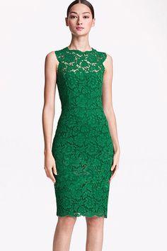 Fashion Mandarin Collar Sleeveless Green Lace Sheath Mini Dress