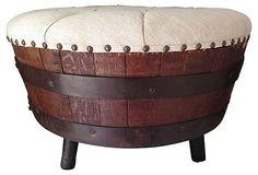 Whiskey Barrel Ottoman w/ Linen on OneKingsLane.com Faded Rose Antiques LLC