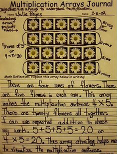 Multiplication Arrays (sample freebie)  This could easly be used for math journals using stickers or stamps.--need to use this for my lesson plan