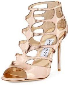 8d0b5dcf457b Jimmy Choo Ren Mirrored Caged 100mm Sandal  SandalsHeels Open Toe Sandals