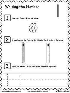 Learn to Count and Write Number 1: Teach your preschooler and kindergarten how to count and write numbers. Practice counting and writting number 1.