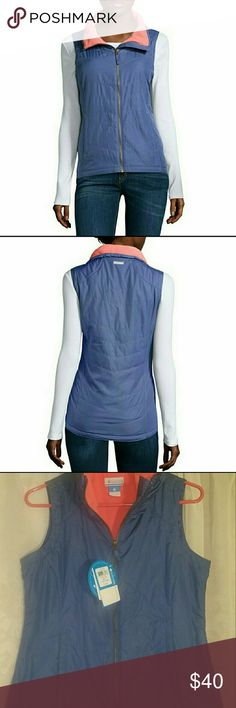 NWT COLOMBIA FLEECE JACKET BLUE PINK Melting Mogul fleece-lined vest features a sporty style that you'll love, with its drop-tail hem and two-pocket design.  zip-front closure 2 pockets chevron stitching drop-tail hem polyester fleece lining water resistant polyester outer washable Columbia Jackets & Coats Vests