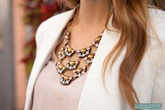Great statement necklace with blush and white