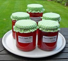 Plum and Apple jam, works wonderfully with the wild plums and English Codling apples we have in our garden.