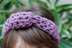 Purple Crocheted Summer Headband by ThePurpleTreebySarah on Etsy