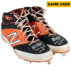 Matt Duffy San Francisco Giants Fanatics Authentic Autographed 2015 Season Game-Used Orange and Black New Balance Cleats #2 with Game Used 2015 Inscription - $799.99