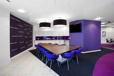 Inspiration: Offices Clad In Purple, The Color of Royalty - Office Snapshots Corporate Interior Design, Corporate Interiors, Interior Design Companies, Office Interiors, Interior Fit Out, Purple Interior, Commercial Design, Commercial Interiors, Purple Office
