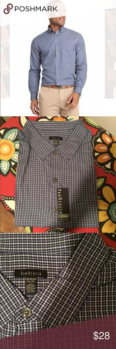 """🆕 Van Heusen Blue Plaid Button Down No Iron Shirt Brand new with tags! Thank you for looking!  Front pocket, premium no iron material, QUALITY clothing at a fraction of the price! 20 - 20 1/2"""" neckline Van Heusen Shirts Casual Button Down Shirts"""