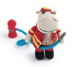Amigurumi Animals at Work Crochet Patterns - Hippo Fireman
