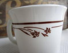 Vintage Corelle Melody Mugs Set of 2 Brown Daffodil by corrnucopia, $8.00