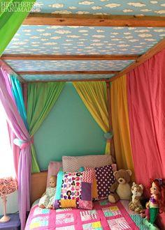 DIY canopy bed with rainbow curtains Heather's Handmade Life - DIY canopy bed with rainbow curtains Heather's Handmade Life - Bunk Bed Curtains, Bunk Bed Tent, Girls Canopy Beds, Rainbow Curtains, Ikea, Diy Canopy, Rainbow Room, Diy Bed, Bed Design