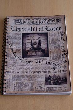 """Cuaderno anillado con tapa del diario El Profeta """"Sirius Black aún libre"""" #HarryPotter"""
