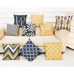 Buy Scandinavia Style Home Art Yellow Blue Love Geometric Printed Cushion Covers × Sofa & Car Throw Pillow Cases Bedroom Pillows Afternoon Time at Wish - Shopping Made Fun Cushion Covers, Throw Pillow Covers, Pillow Cases, Sofa Bed Home, Bed Sofa, Sofa Chair, Couch, Chair Pillow, Printed Cushions