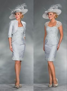 Silver Lace Applique Mother Of The Bride Outfits Social Occasion Wedding Dress