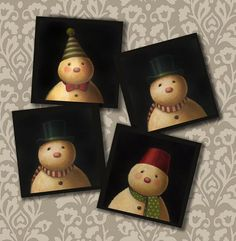 Snowman Portrait Coasters  Vintage inspired by CuriousPortraits