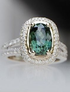 2.82ct Green blue cushion sapphire diamond ring 18k white gold