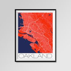 Oakland Map Print - Minimalist City Map Art of Oakland Poster - Wall Art Gift - COLORS - white, blue, red, yellow, violet Oakland map, Oakland print, Oakland poster, Oakland map art, Oakland gift  More styles - Oakland - maps on the link below https://www.etsy.com/shop/PFposters?search_query=Oakland