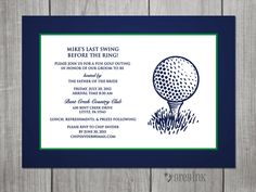 Wedding Party Golfing Invitation Digital File