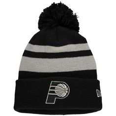 30b678e23af Men s Indiana Pacers New Era Black Double Stripe Cuffed Knit Hat with Pom