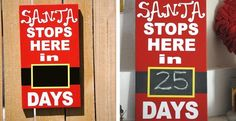 "In this listing is a 8"" x 14"" Christmas countdown calendar. The sign is painted a vibrant red and finished with white or black lettering. Santa's buckle is a chalkboard and ready for you to countdown the days until he arrives! The kids will love counting down with this unique handmade sign. Signs are made on high quality MDF so there is never any warping. Lettering is premium vinyl and will last a lifetime."