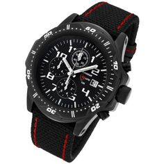 Armourlite Professional Series Black Chronograph Watch with Black & Red Kevlar Band - http://www.sportingfests.com/armourlite-professional-series-black-chronograph-watch-with-black-red-kevlar-band/