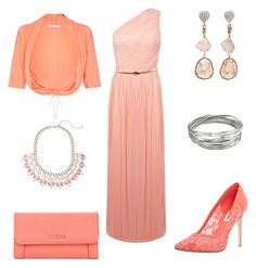 Peach dream by jofobbester on Polyvore featuring polyvore fashion style Miss Selfridge Damsel in a Dress Dune GUESS Jordan Alexander Whistles clothing