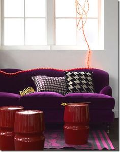 love the purple couch; not crazy about the lazy lighting