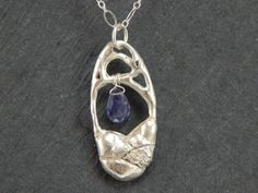 cast sterling silver pendant necklace iolite by firenfluxhandmade, $45.00