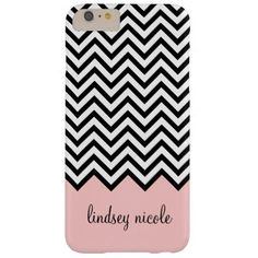 Black and Pink Modern Chevron Custom Monogram Barely There iPhone 6 Plus Case