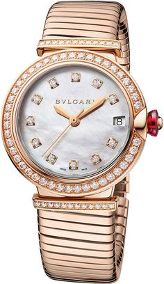 A Fantastic Choice - Watch Brands: Find Watches Bvlgari Watches Ladies, Ladies Watches, Women's Watches, Elegant Watches, Beautiful Watches, Beautiful Ladies, Bvlgari Gold, Gold Diamond Watches, Twist Ring