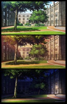School college by giaonp on DeviantArt Episode Interactive Backgrounds, Episode Backgrounds, Anime Backgrounds Wallpapers, Anime Scenery Wallpaper, Scenery Background, Cartoon Background, Casa Anime, Anime Places, Applis Photo