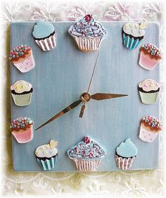 Cupcake Clock in Pearl Blue with cupcake by Angelheartdesigns, $38.00