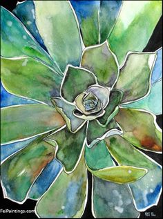 Succulent Watercolor Painting Original Agave Artwork Green Decor by Watercolor & Photography, via Flickr
