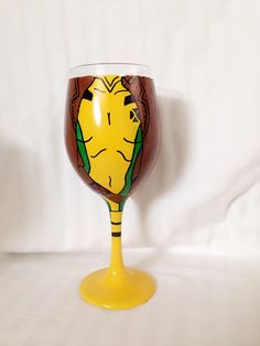 Rogue from X-Men inspired hand painted wine by TheNerdEffect